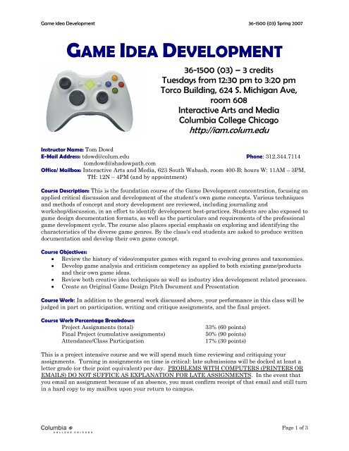 GAME IDEA DEVELOPMENT - IAM - Columbia College Chicago