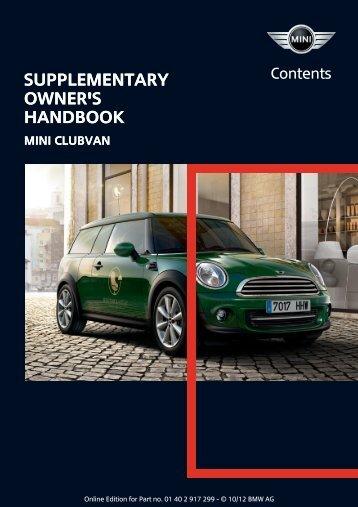 Supplementary Owner's Handbook Supplementary Owner's Handbook