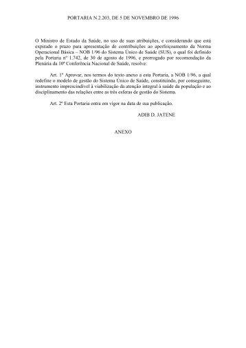 PORTARIA N.2.203, DE 5 DE NOVEMBRO DE 1996 O Ministro de ...