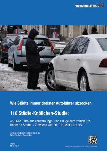 116 Städte-Knöllchen-Studie: - Presse - PREISVERGLEICH.de