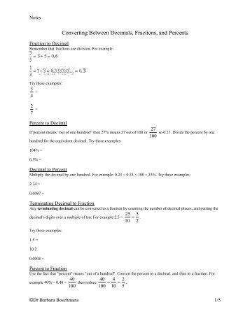 Converting Between Decimals, Fractions, and Percents - Oak