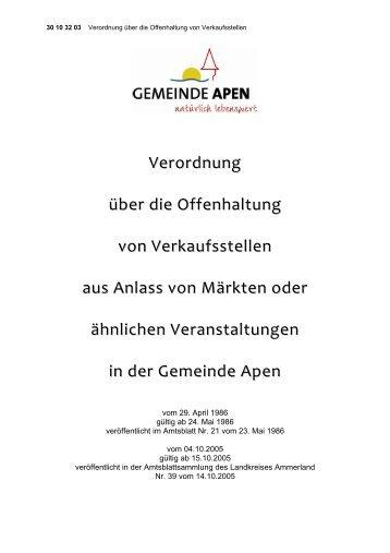 Verordnung über die Offenhaltung von ... - Gemeinde Apen