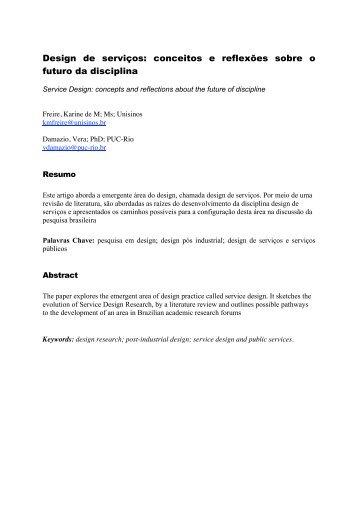 Design de serviços: conceitos e reflexões sobre o futuro da ... - E.Life