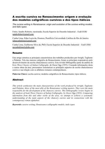A escrita cursiva no Renascimento: origem e ... - ResearchGate