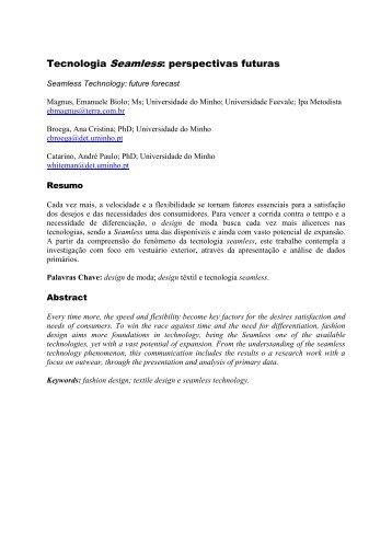 Tecnologia Seamless: perspectivas futuras - Centro de Design ...