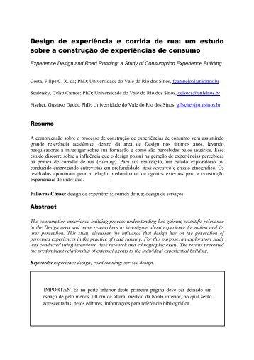Design de experiência e corrida de rua: um estudo sobre a ...