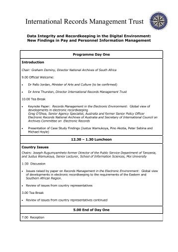 Programme - International Records Management Trust