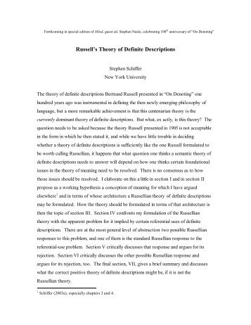 Russell's Theory of Definite Descriptions - NYU - New York University