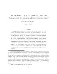 Can InFormed Public Deliberation Overcome Clientelism ...
