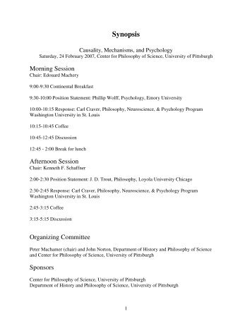 Synopsis - The Department of Philosophy - Washington University in ...