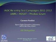 IADC Re-entry Test Campaigns 2011-2012: UARS, ROSAT ... - Cnr