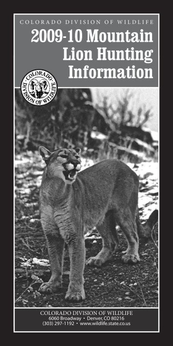 2009-2010 Mountain Lion Hunting Brochure