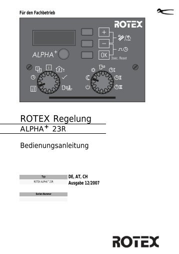 rotex alpha+ 23r - ROTEX Heating Systems GmbH