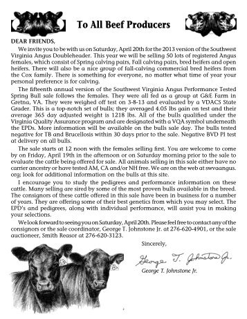 To All Beef Producers - angus beef cattle sales by the southwest ...