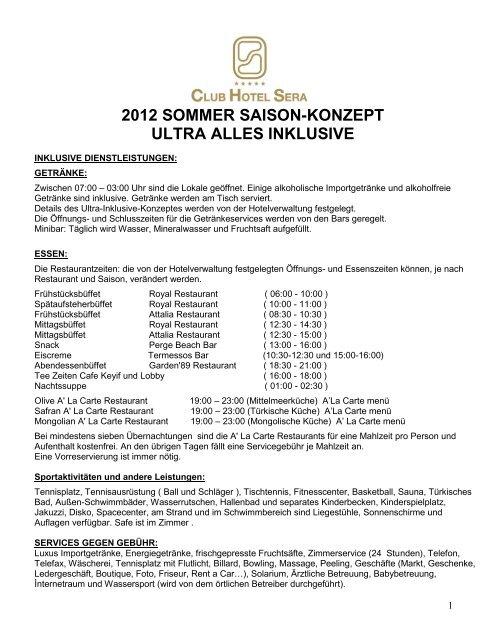 2012 sommer saison-konzept ultra alles inklusive