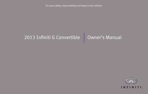 2013 Infiniti G Convertible | Owner's Manual - Infiniti