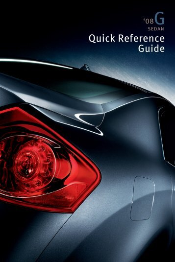 2008 G35 Sedan Quick Reference Guide - Infiniti Owner Portal
