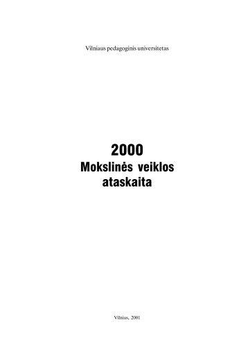 Mokslinës veiklos ataskaita - VPU biblioteka - Vilniaus pedagoginis ...