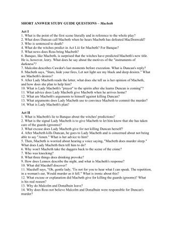 short answer study guide questions macbeth act i 1 rh yumpu com macbeth study guide answers quizlet macbeth study guide answers quizlet