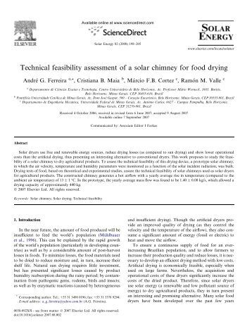 Technical feasibility assessment of a solar chimney for food drying
