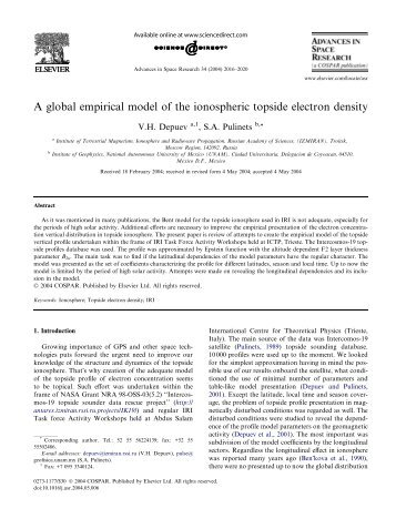 A global empirical model of the ionospheric topside ... - ResearchGate