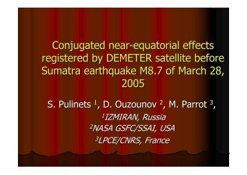 Conjugated near-equatorial effects registered by DEMETER satellite ...