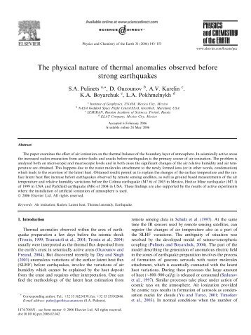 The physical nature of thermal anomalies observed before strong ...