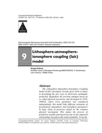 Lithosphere-atmosphere- ionosphere coupling - Sergey A. Pulinets