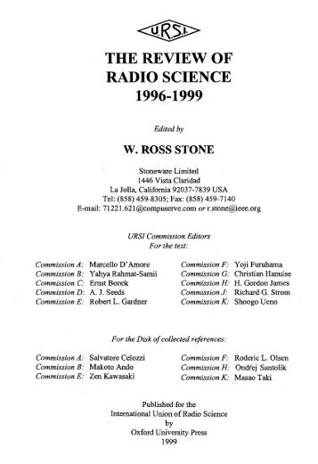 THE REVIEW OF RADIO SCIENCE 1996-1999
