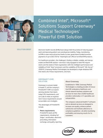 Combined Intel®, Microsoft* Solutions Support Greenway* Medical ...
