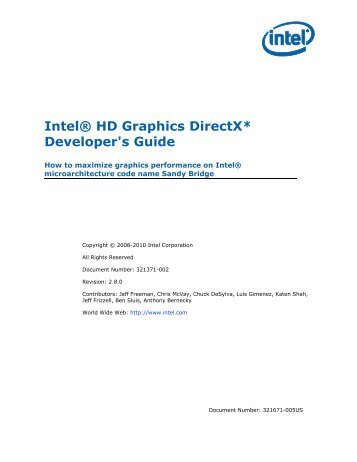 Intel HD Graphics DirectX Developer's Guide (Sandy Bridge)