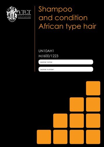 Shampoo and condition African type hair - VTCT