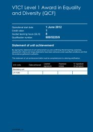 VTCT Level 1 Award in Equality and Diversity - Qualification Title ...