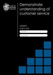 Demonstrate understanding of customer service - VTCT