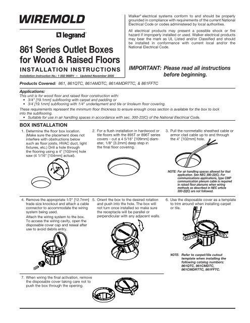 861 Series Outlet Bo for Wood & Raised Floors ... on