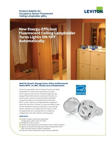 New Energy-Efficient Fluorescent Ceiling Lampholder Turns - Leviton