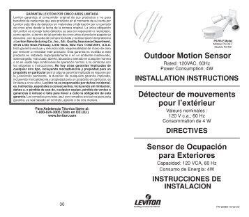 Outdoor Motion Sensor Détecteur de mouvements pour l ... - Leviton