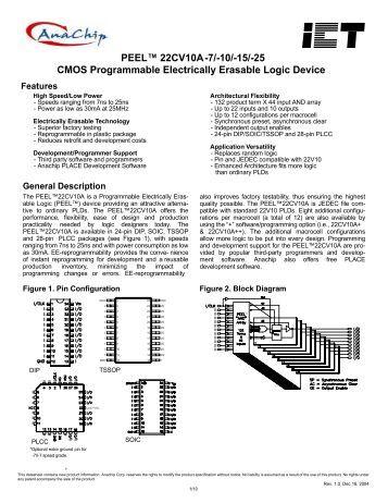 PEEL™ 22CV10A -7/-10/-15/-25 CMOS Programmable Electrically ...