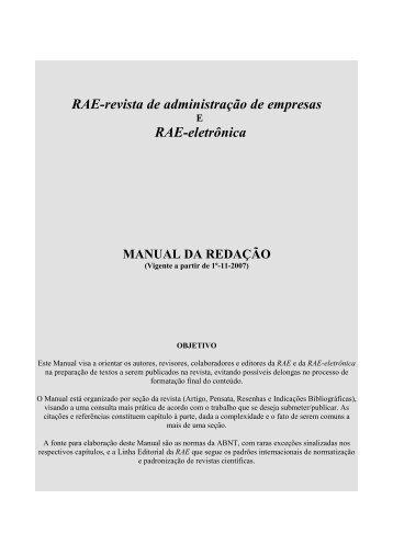 Manual de redação - RAE Publicações - Fundação Getulio Vargas