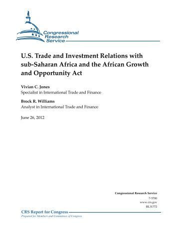 U.S. Trade and Investment Relations with sub-Saharan Africa