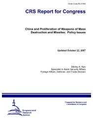 China and Proliferation of Weapons of Mass Destruction and Missiles