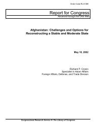 Afghanistan: Challenges and Options for Reconstructing a Stable