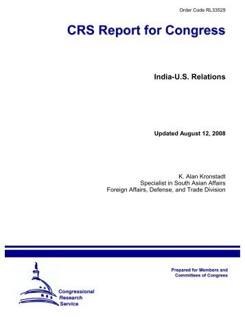 India-U.S. Relations - Foreign Press Centers - US Department of State
