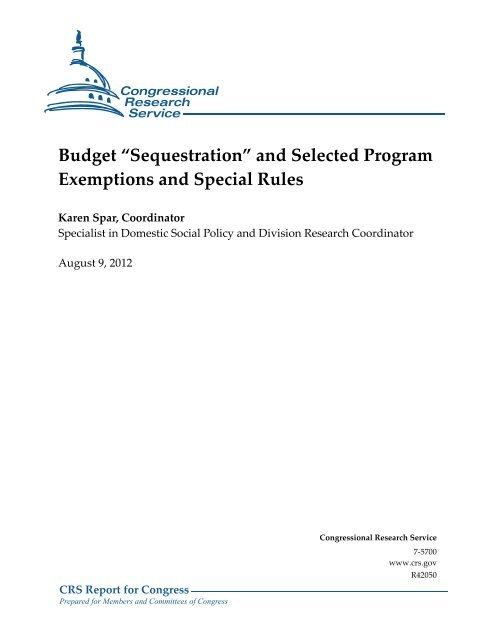 """Sequestration"" and Selected Program Exemptions and Special Rules"