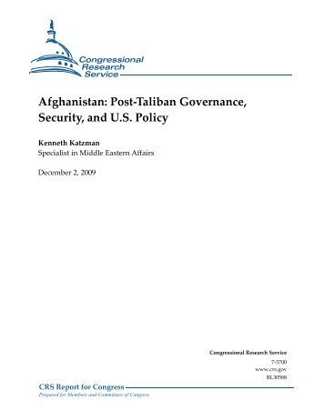 Afghanistan: Post-Taliban Governance, Security, and U.S. Policy