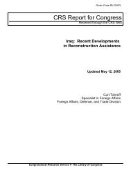 Iraq: Recent Developments in Reconstruction Assistance [Updated ...