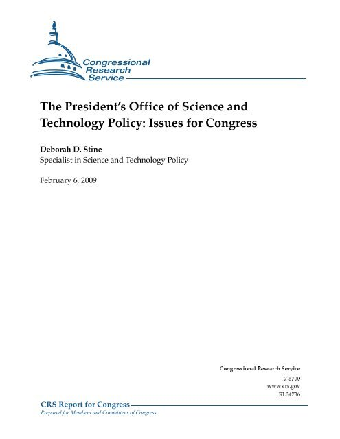 The President's Office of Science and Technology Policy