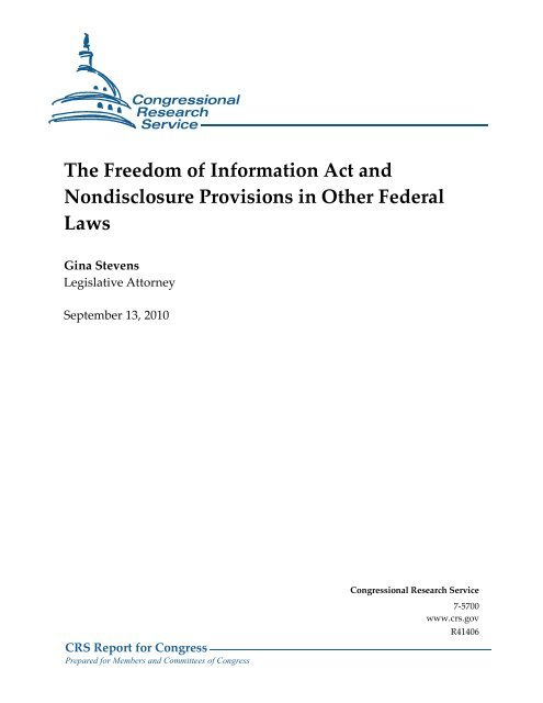 The Freedom of Information Act and Nondisclosure Provisions in ...
