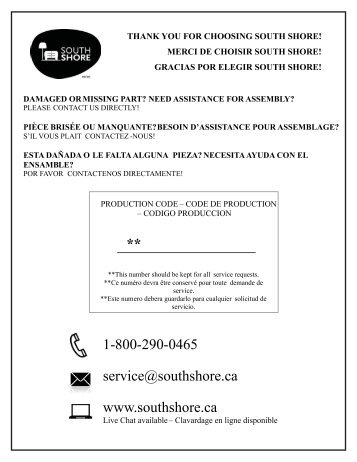 1-800-290-0465 service@southshore.ca www.southshore.ca **
