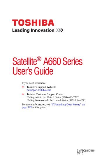 Satellite® A660 Series User's Guide - Howard Computers